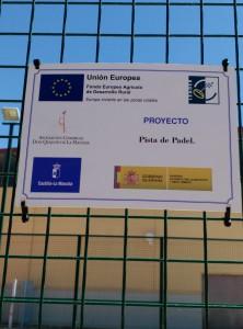 Placa de la Asociación Don Quijote Proyecto Cofinanciado UE para el Desarrollo Rural